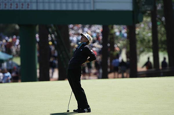 Snedeker missed a birdie putt on the third hole.