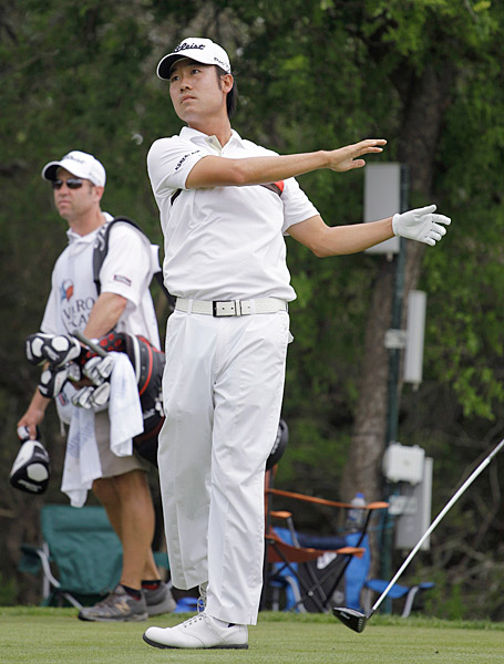 Kevin Na got a 15 on the ninth hole after his third drive found the woods.