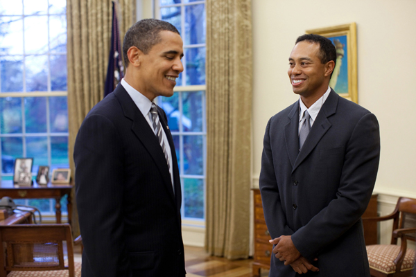 Tiger Woods meets with President Barack ObamaIn town to promote his golf tournament, the AT&T National, Tiger Woods was invited to the White House on Monday to meet with President Barack Obama.