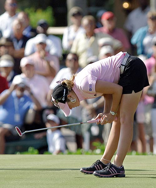 Creamer's putt stopped just short in a playoff against Sorenstam in the Stanford International Pro-Am.
