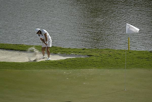 The par-5 18th hole at Turnberry took a toll on Christina Kim as she posted scores of 8, 5, 9 and 6 on it.