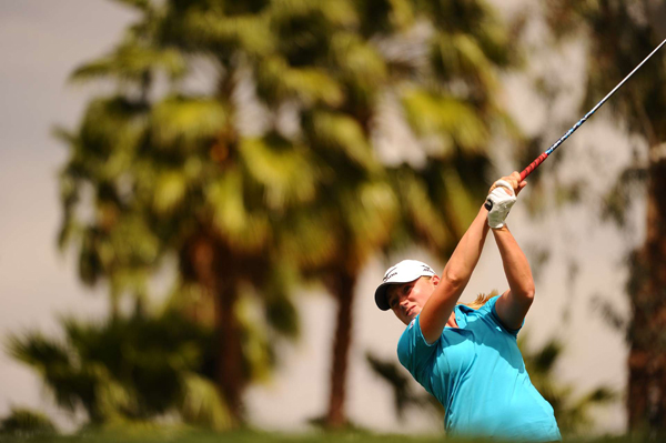 Stacy Lewis is in second place after making two birdies and one bogey.