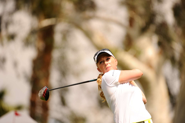 Morgan Pressel made three birdies on the back nine to move into third place.