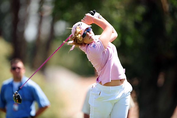 Paula Creamer shot a three-over 39 on the back nine for a 74.