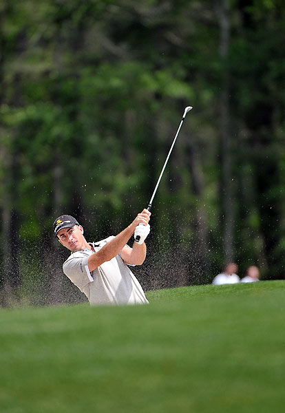 Geoff Ogilvy was near the lead during his second round, but five bogeys left him with a 73.
