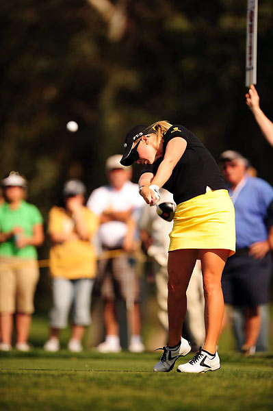 Defending champion Morgan Pressel shot a two-over 74.