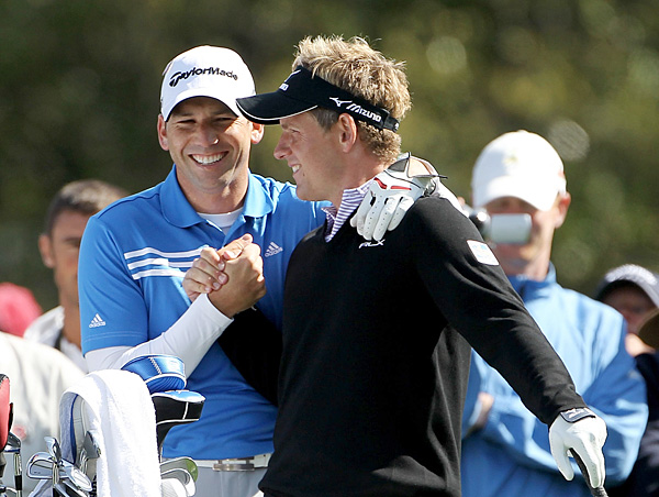 Sergio Garcia, left, joked around with Luke Donald during their practice round.