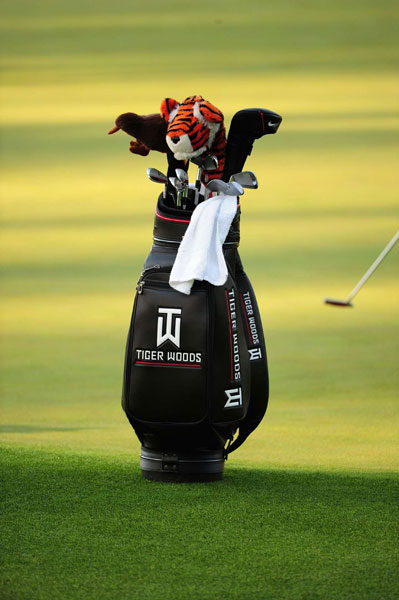 Woods has his own logo on his golf bag after AT&T dropped him as a sponsor.