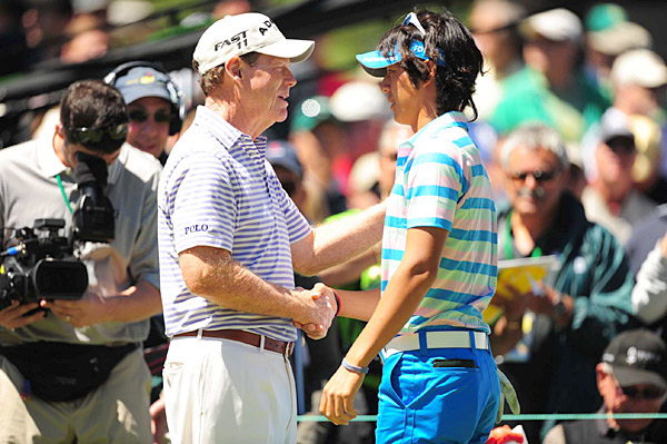 Two-time Masters champion Tom Watson and Ryo Ishikawa shook hands on Wednesday. Ishikawa, a native of Japan, recently announced he would give all of his 2011 golf earnings to the relief effort in his home country.