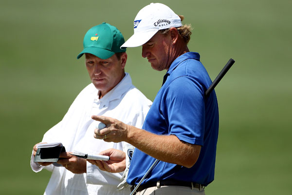 will have two different caddies for the majors. Former NHL player Dan Quinn, right, is working the Masters and the PGA Championship. Els's regular caddie, Ricci Roberts, will work the U.S. Open and British Open.