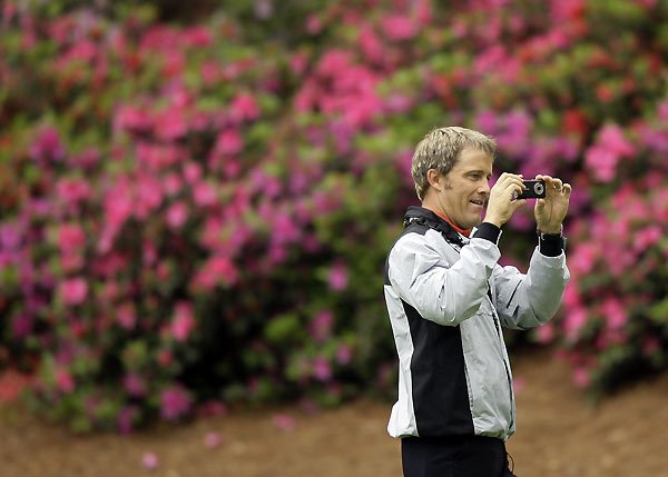 Patrons weren't the only ones taking pictures. Stuart Appleby snapped a couple photos during his practice round.