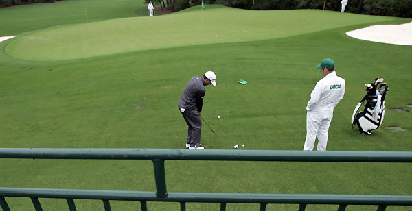 Sergio Garcia, who is still seeking his first major, worked on his chipping at the practice green.