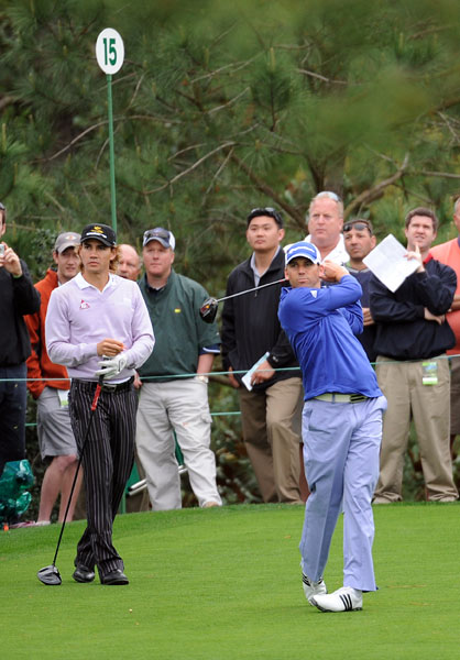 Sergio Garcia played a practice round with Camilo Villegas. Both stars are seeking their first major this week.