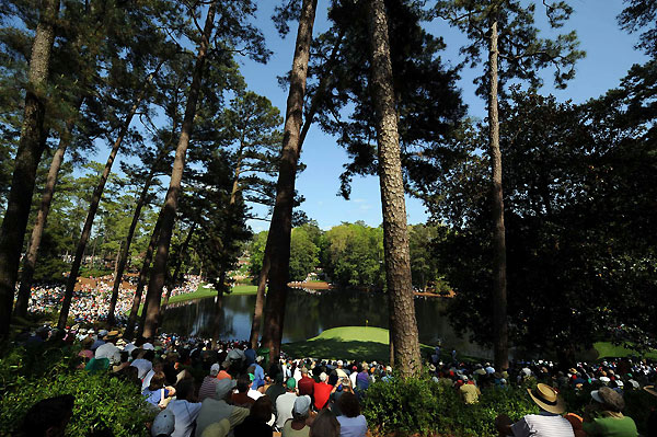 Patrons waited to see the players come through the Par-3 course.