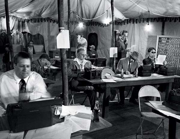 A                       PRESS TENT The scribes who covered Ben Hogan's victory in the '51 Masters filed their stories by Western Union or dictated their copy over pay phones. But then, as now, they labored in stale air and artificial light, oblivious to the tinkling sounds of celebration drifting down from the clubhouse.