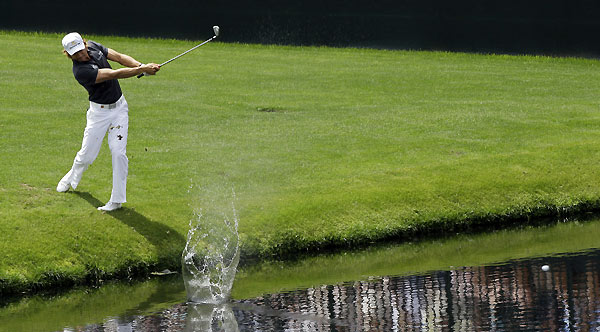 Camilo Villegas tried skipping his ball across the pond at No. 16.