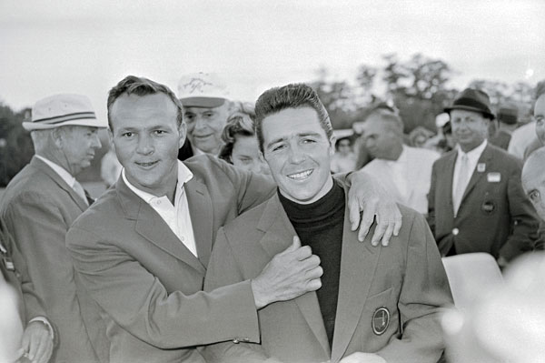 "Gary Player won his first Masters in 1961, left, and received his green jacket from the 1960 champion, Arnold Palmer. The tables were turned in 1962, when Palmer won and Player presented. That year, Player went home to South Africa with his jacket, the only one that was never returned.                                           ""I assumed it was mine,"" Player said. ""I got a call from Clifford Roberts and he said, 'Gary, I believe you've taken the Masters jacket home. You're not supposed to do that.' And I said, 'Mr. Roberts, if you want it, you better come and fetch it.' He appreciated the humor and told me I must never wear it around. It's in a plastic bag in my closet."""