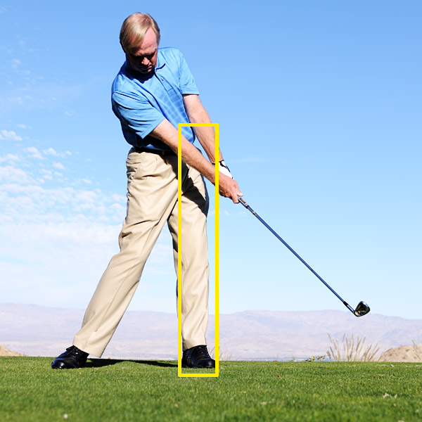 "The Solution                                              Start your downswing with your left knee and hip ""posting up"" on top of your left foot first. This allows your hands and arms to drop down without releasing the club before impact. As your left hip begins to clear out of the way, your right knee and hip move up into the ball, allowing you to deliver the club into the ball with power and accuracy. Once you ingrain this move, you'll start to hit your irons the proper distance and trajectory.                                              Think of your left leg as a post that your right side can move toward through impact. This gives you the best chance to strike your irons with power and accuracy."
