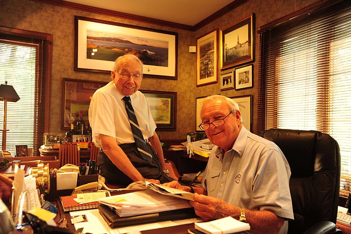 Doc Giffin and Arnold Palmer working in Palmer's office in Latrobe, Pa., in June 2011.