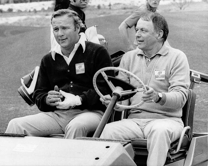 Arnold Palmer with Frank Sinatra at the Tony Lema Scholarship Fund Golf Tournament in Palm Springs, Calif., in February 1972.