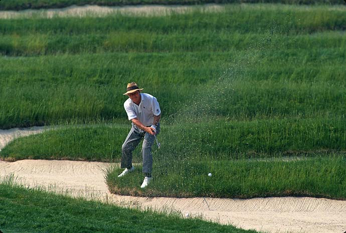 Arnold Palmer hits out of the Church Pews at Oakmont Country Club at the 1994 U.S. Open, the last U.S. Open in which Palmer competed.