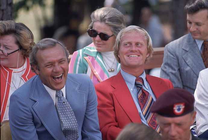 Arnold Palmer and Jack Nicklaus at World Open Golf Tournament at Pinehurst Country Club on Sept. 23, 1974.