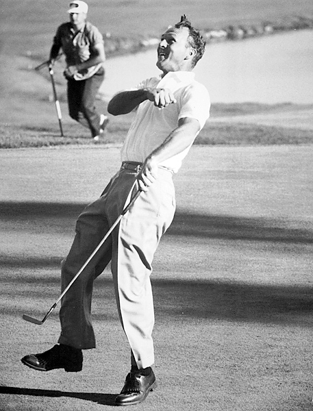 Arnold Palmer, 1960 U.S. Open at Cherry Hills                     Legends from three generations (Ben Hogan, Arnold Palmer and Jack Nicklaus) were among the horde of luminaries who battled over the final 36 holes, which were all played on Saturday. (The Open didn't go to an 18-hole Sunday finish until 1965.) Seven shots back, Palmer stole the show in the final round, which began with his driving the green at the 313-yard par-4 1st and culminated with a back-nine 30. Arnie fired a six-under 65 in the final round for a two-shot victory over Nicklaus.