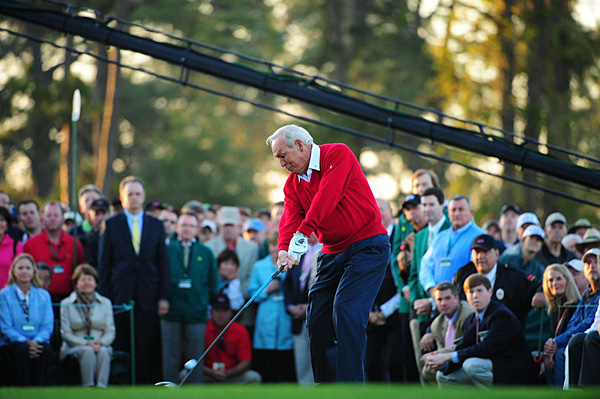 Arnold Palmer hit the ceremonial first tee shot on Thursday.