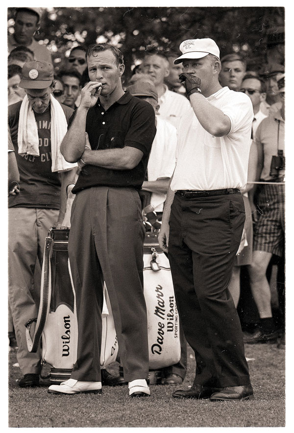 Arnold Palmer and Jack Nicklaus take a smoke break during the PGA Championship in July of 1962 at Aronimink Golf Club in Newtown Square, Penn. Nicklaus finished third behind Gary Player.  He told the Pittsburgh Post-Gazette's Gerry Dulac in a 2012 interview   that he quit smoking on the course after seeing film of himself with a cigarette during the 1962 U.S. Open.