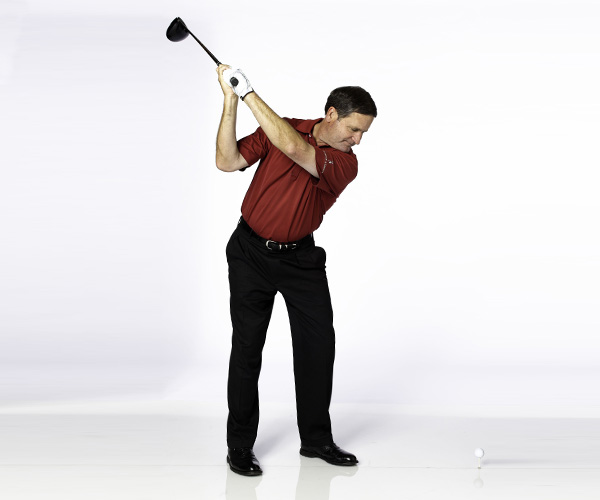 THE DRILL                       Turn your back to the target on a 45-degree angle and just swing your arms. Your relaxed arms naturally swing shallower and you learn the feeling of an in-to-out swing. Your new swing path and stronger grip will allow you to hit high draws.                        CLUBFITTING TIP                                                Try extra length, a softer-flex shaft and a more upright lie to change your big slice into a tight little cut. Get yourself an offset, draw-bias clubhead, which has extra weight in the heel to promote a right-to-left flight. A lower-spinning ball also reduces sidespin. Teeing the ball higher can increase launch angle and force you to swing more on plane.