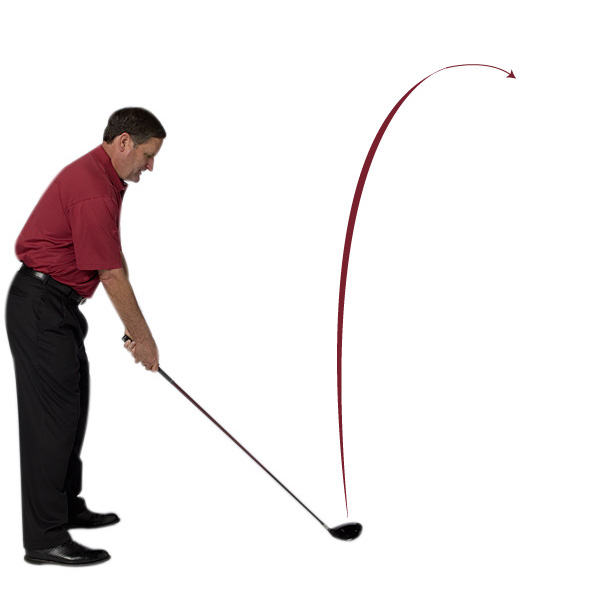 LOW SLICE                       WHY IT'S HAPPENING:                       1. Your clubface is open to the swing path                       2. Your clubhead swing path is in-to-out                       3. Your angle of attack is too shallow                                              HOW TO FIX IT                                              To get your clubface square to your swing path, you need to adjust your grip to be stronger (move both hands to the right) and then work on grooving a steeper swing.