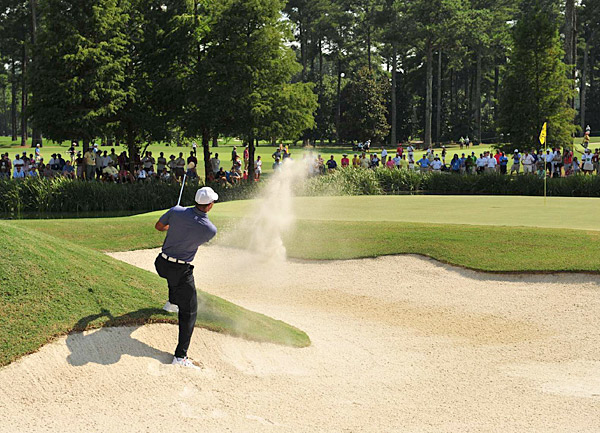 Woods was unable to avoid the countless hazards and dangers strewn across the tough course setup at Atlanta Athletic Club.