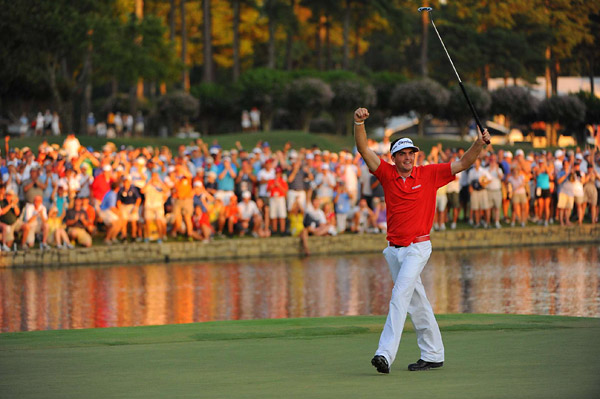 Keegan Bradley in a three-hole playoff to win the 2011 PGA Championship at Atlanta Athletic Club.