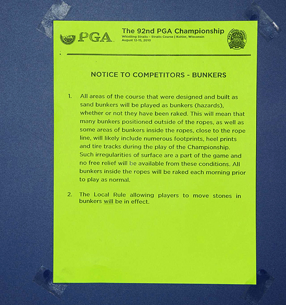 One of the rules sheets posted at the PGA explaining the numerous bunkers at Whistling Straits.