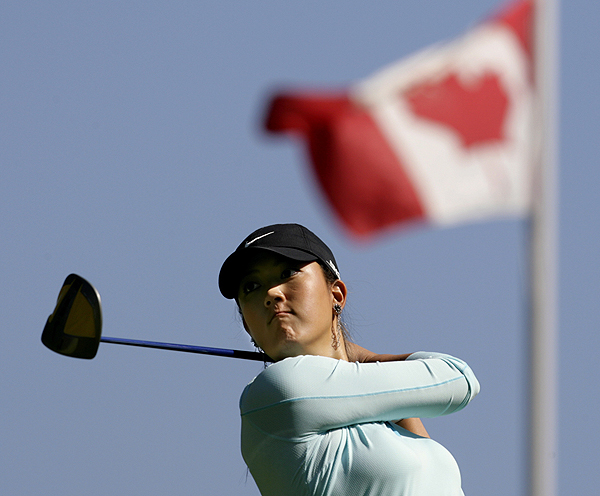 Michelle Wie, who started her round on the back nine, double-bogeyed the par-4 12th hole at the CN Canadian Women's Open.