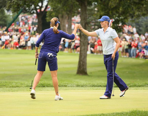 Brittany Lincicome (right) and Brittany Lang dominated Becky Brewerton and Laura Davis, 5&4.