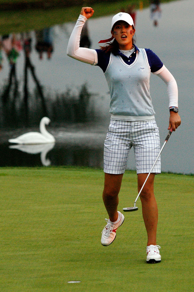 Michelle Wie secured a crucial point for the U.S. in the final match of the day.