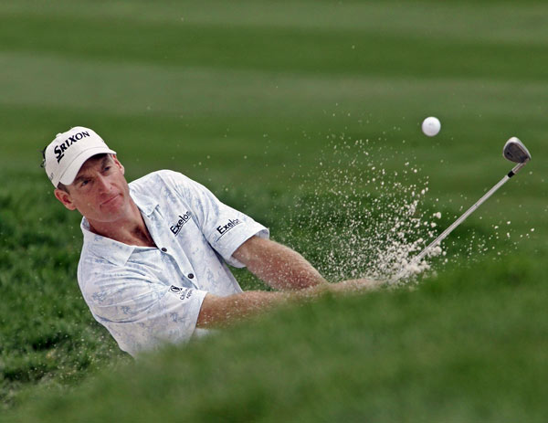 Jim Furyk finished the front nine with a birdie and a bogey. He shot 70 and is seven strokes off the lead.