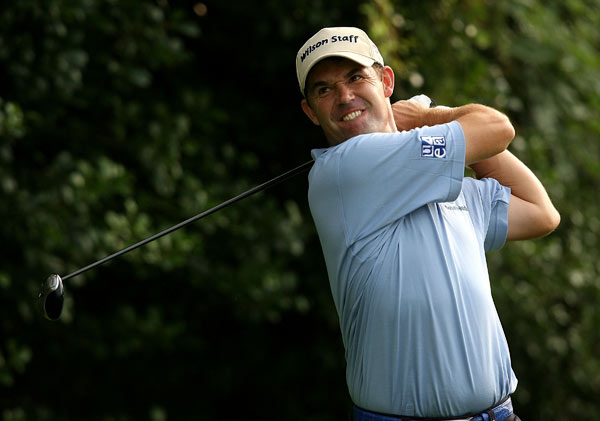 British Open champ Padraig Harrington carded four birdies and a bogey for a 68.