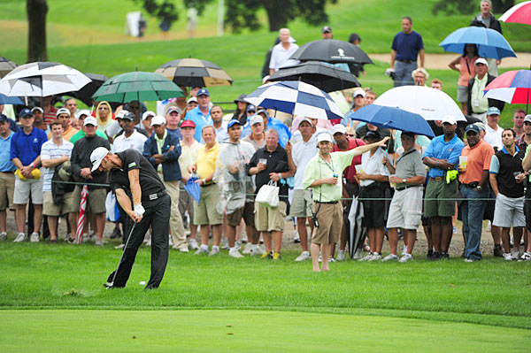 Dustin Johnson made five birdies, an eagle and a bogey to win by two strokes over Matt Kuchar. The event was shortened to 54 holes due to Hurricane Irene.
