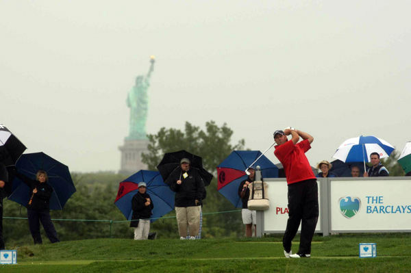 looked like he was playing in Scotland, with the exception of the Statue of Liberty in the background.