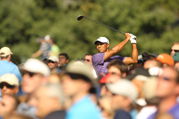 """Despite hitting his opening tee shot out of bounds, Woods is happy with his driving. """"I'm driving the ball better than I have in years,"""" Woods said. """"And the distance I'm hitting it now, it's amazing."""""""