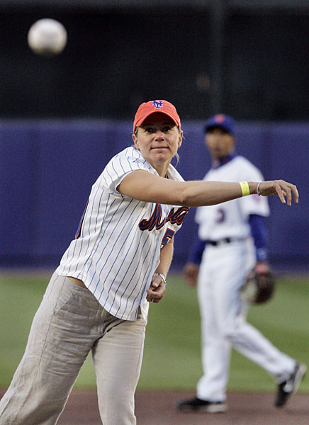 Shortly after announcing her retirement in May 2008, Annika Sorenstam threw out the first pitch at a Mets/Nationals game.