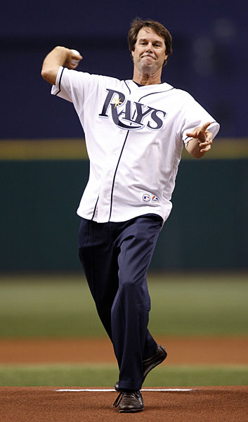 After leading the U.S. team to victory at the 2008 Ryder Cup, captain Paul Azinger threw out the first pitch at a Rays/White Sox game.