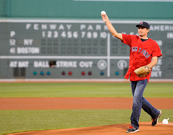 2011 PGA champion Keegan Bradley, a life-long Red Sox fan, threw out the first pitch at the Red Sox/Yankees game on Tuesday.2011 PGA champion Keegan Bradley, a life-long Red Sox fan, threw out the first pitch at the Red Sox/Yankees game.