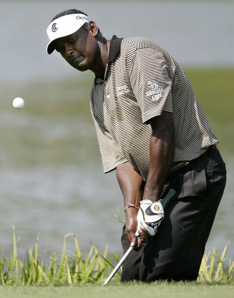Vijay Singh four-putted No. 1 for a double bogey, and his day didn't get much better. Singh shot a three-over 74.