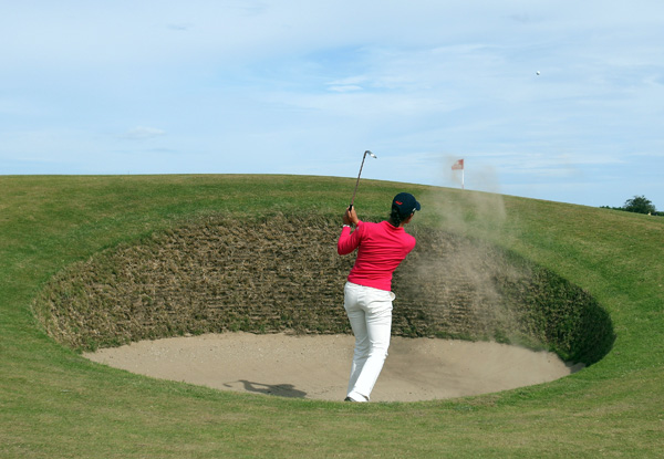 One of Ochoa's three bogeys came at 13, where she failed to get up and down from a bunker.