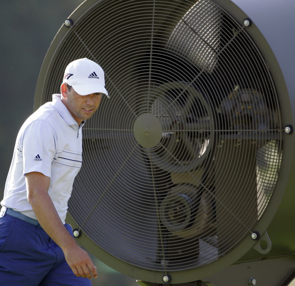 Sergio Garcia tried to stay cool during his practice round.