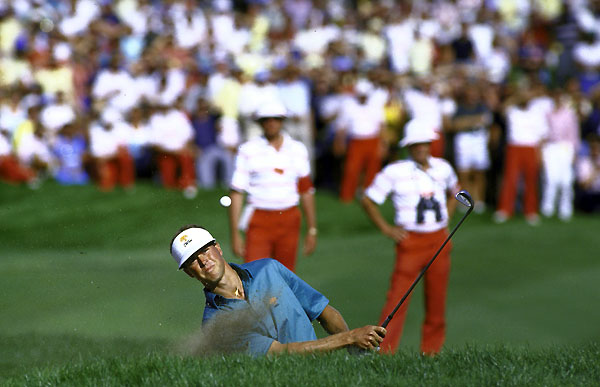"No. 1 Bob Tway                       Enter the Sandman                        1986 PGA Championship                         Inverness Club, Toledo, Ohio                                              For sheer ""holy crap"" drama, this one tops 'em all. Greg Norman had a four-stroke lead with eight holes to play on a rain-date Monday. It wouldn't last. Bob Tway caught The Shark, and the two arrived at the par-4 18th tied. Tway's approach found the bunker, while Norman's ball sat comfortably at the edge of the green. First to play, Tway blasted his ball over the bunker lip...and into the hole. Twenty years later, the image of an ecstatic Tway leaping up and down like a kid in a sandbox remains one of the PGA Championship's most memorable moments."