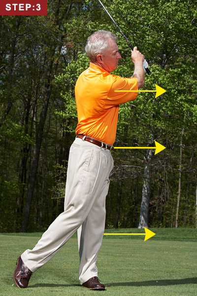 STEP 3                                              Without changing speeds, swing down and into a three-quarter finish. Despite the shorter follow-through, make sure your body ends up facing the target.